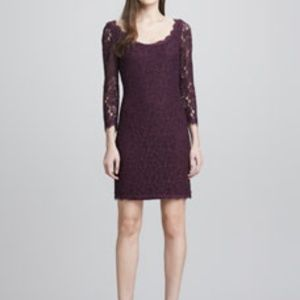 Zarita Scoop-Neck Short Lace Dress, Plum 2